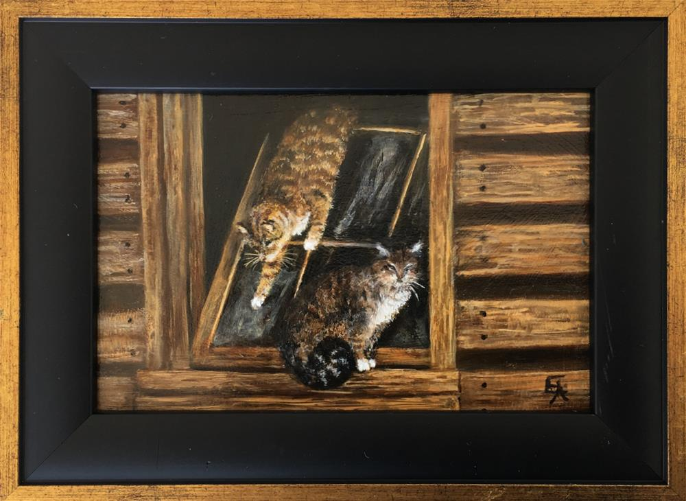 """Barn Cats, Framed"" original fine art by Elizabeth Elgin"