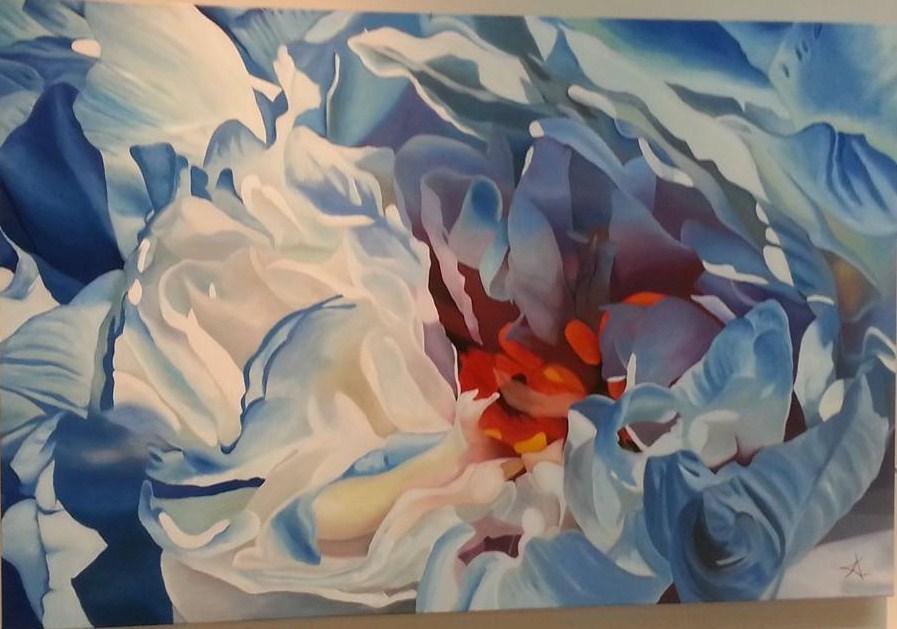 """Blue Peony"" original fine art by Konstantia Karletsa"