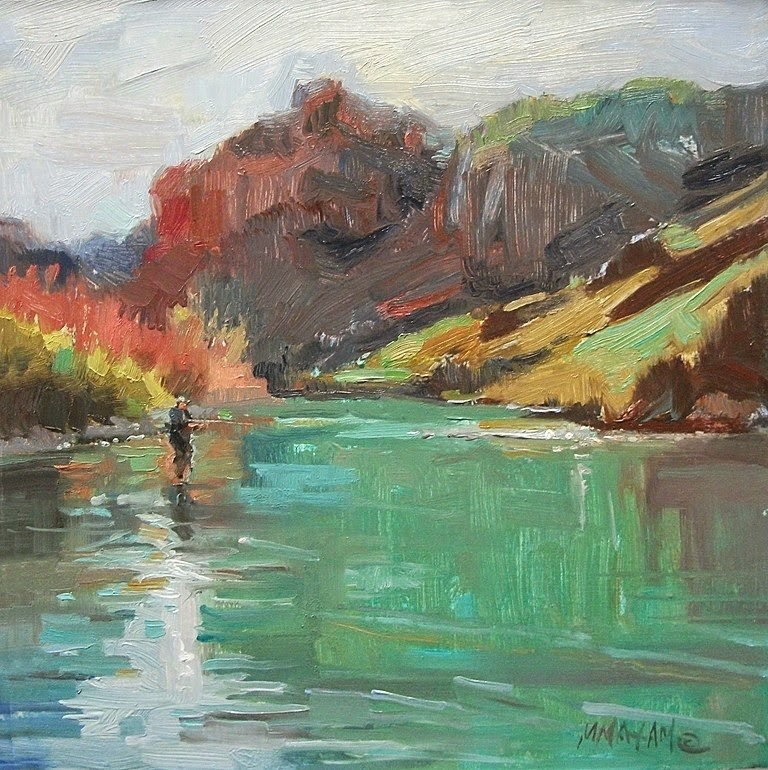 """""""Early Spring On The Owyhee River"""" original fine art by Mary Maxam"""