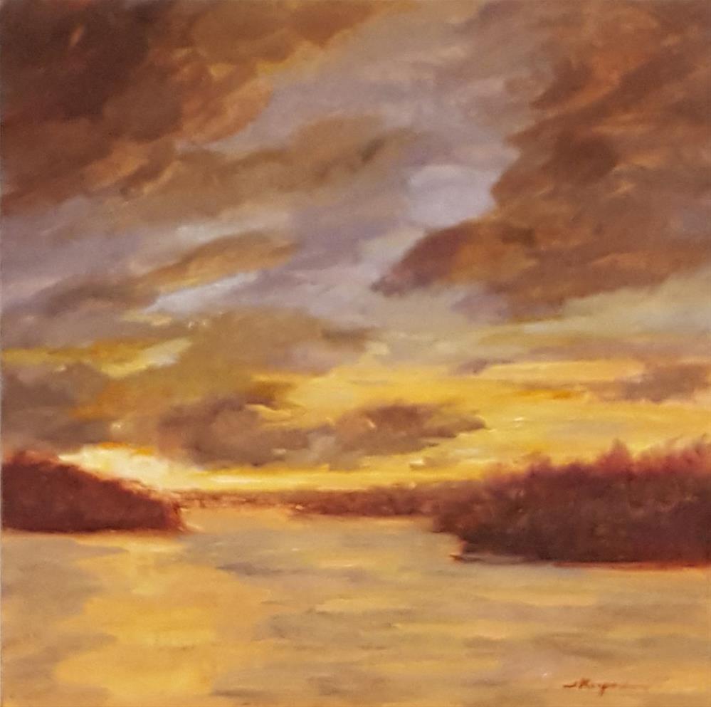 """""""Golden Sunset at the Lake"""" original fine art by Shelley Koopmann"""