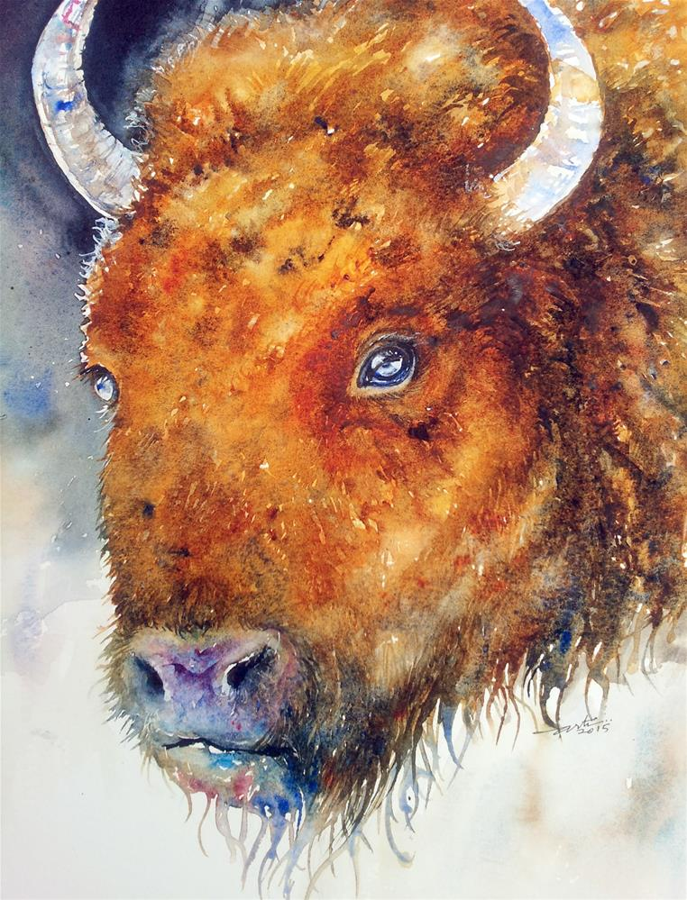 """The Dark Bison"" original fine art by Arti Chauhan"