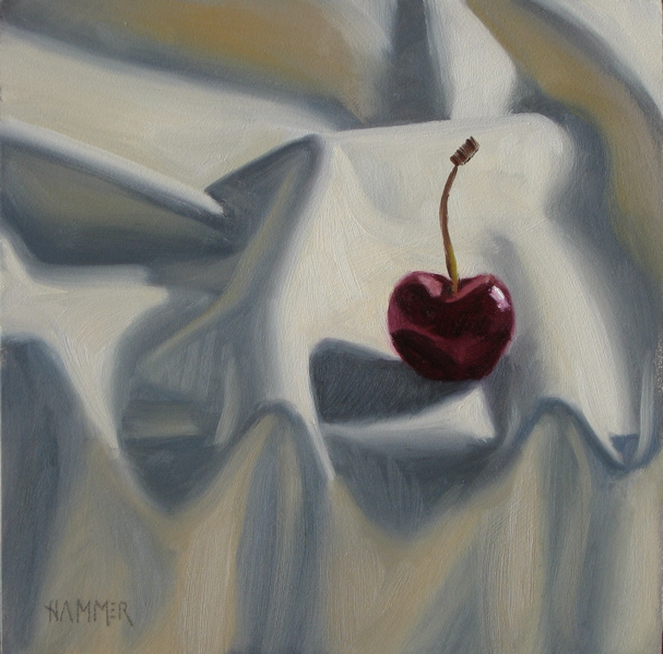 """""""I vant to be alone  6x6 oil on gessobord"""" original fine art by Claudia Hammer"""