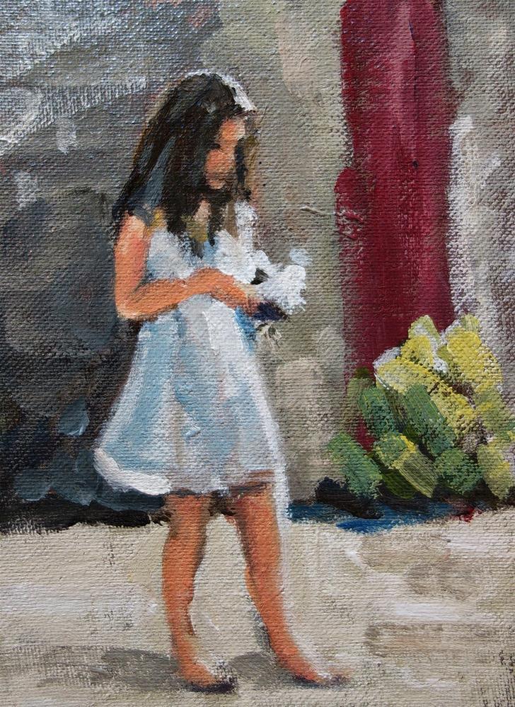 """White Slip Dress"" original fine art by J. Farnsworth"