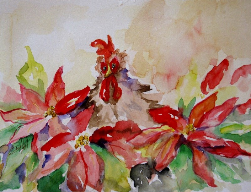 """Chicken in the Poinsettias"" original fine art by Delilah Smith"