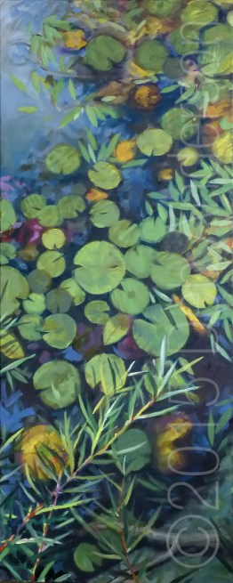 """Oil Painting of Lilypads"" original fine art by Deb Anderson"
