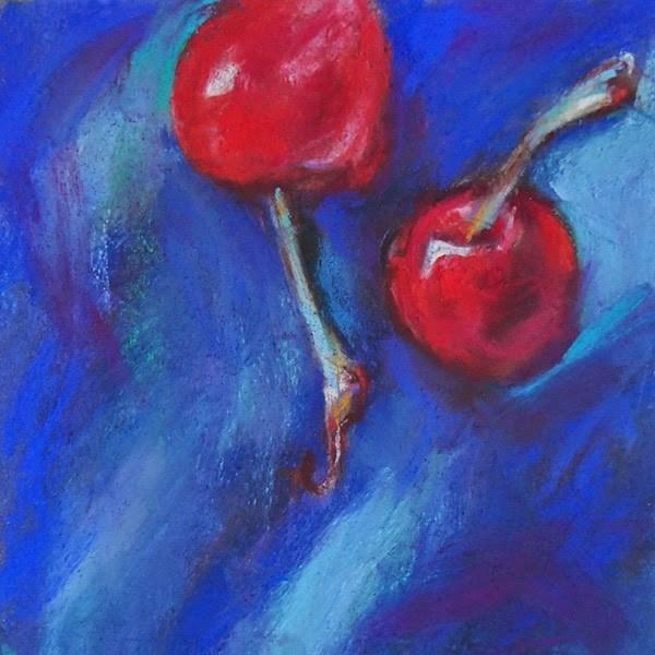 """2 CHERRIES - 5 x 5 pastel by Susan Roden"" original fine art by Susan Roden"