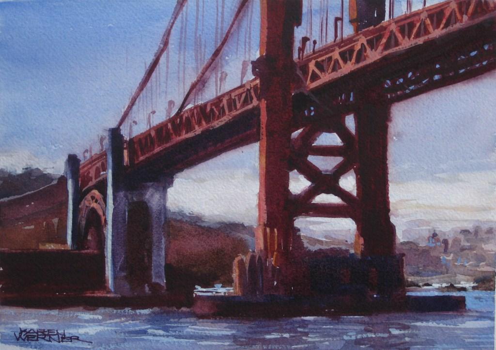 """""""Red Bridge"""" original fine art by Karen Werner"""