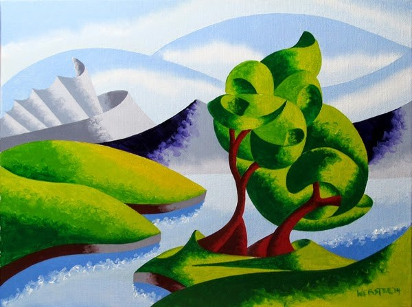 """""""Mark Adam Webster - Abstract Geometric Mountain River Landscape Oil Painting 4.2.14"""" original fine art by Mark Webster"""
