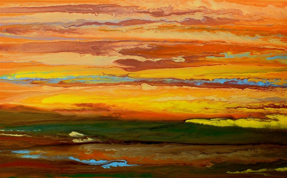 """""""Contemporary Abstract Landscape,Sunset Art Painting Blazing Sky Reflected III by ColoradoContempor"""" original fine art by Kimberly Conrad"""