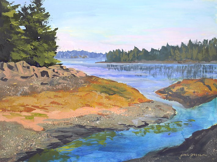 """""""Rocky Cove and the New Golden High Flow Acrylics"""" original fine art by Jamie Williams Grossman"""