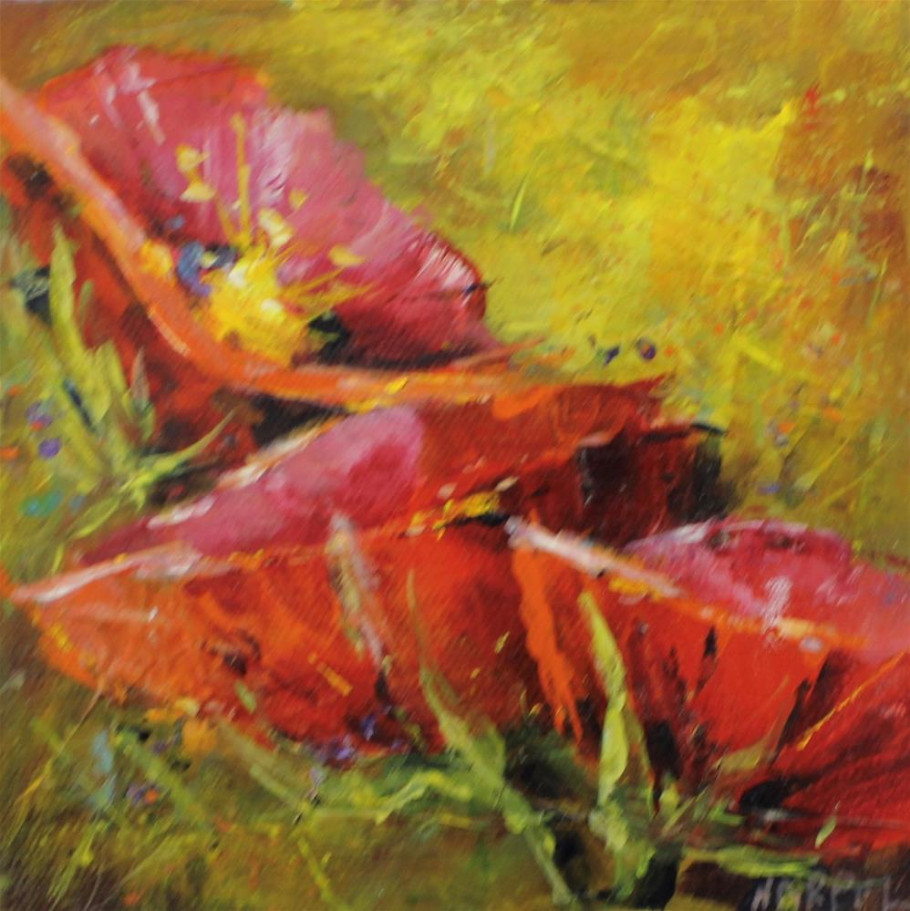 """""""Red Poppy Landscape Acrylic Painting"""" original fine art by Alice Harpel"""