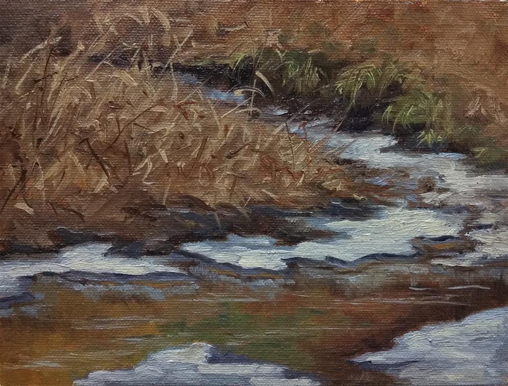 """Ice in the creek-plein air"" original fine art by Veronica Brown"