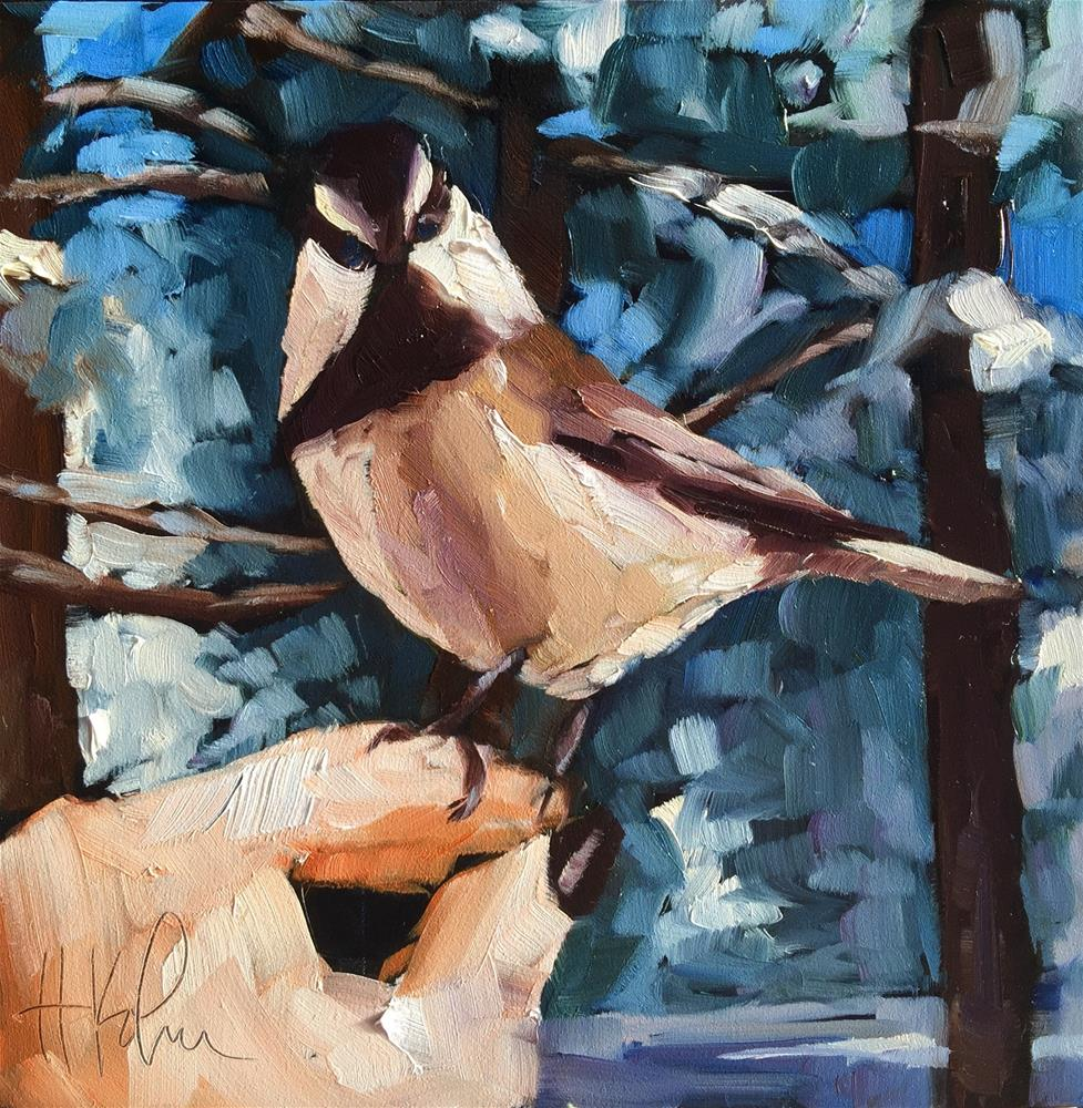 """Sarah's Chickadee"" original fine art by Hallie Kohn"