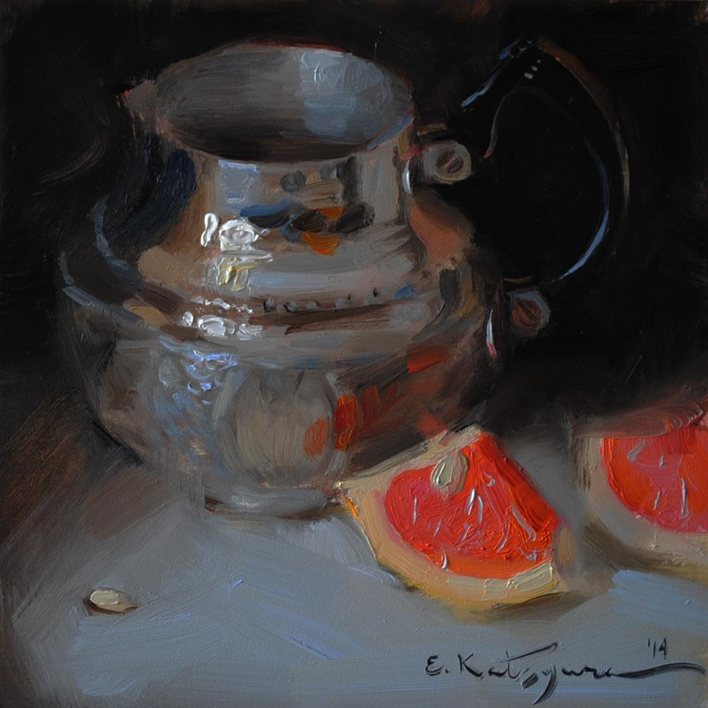 """Silver and Red SOLD"" original fine art by Elena Katsyura"