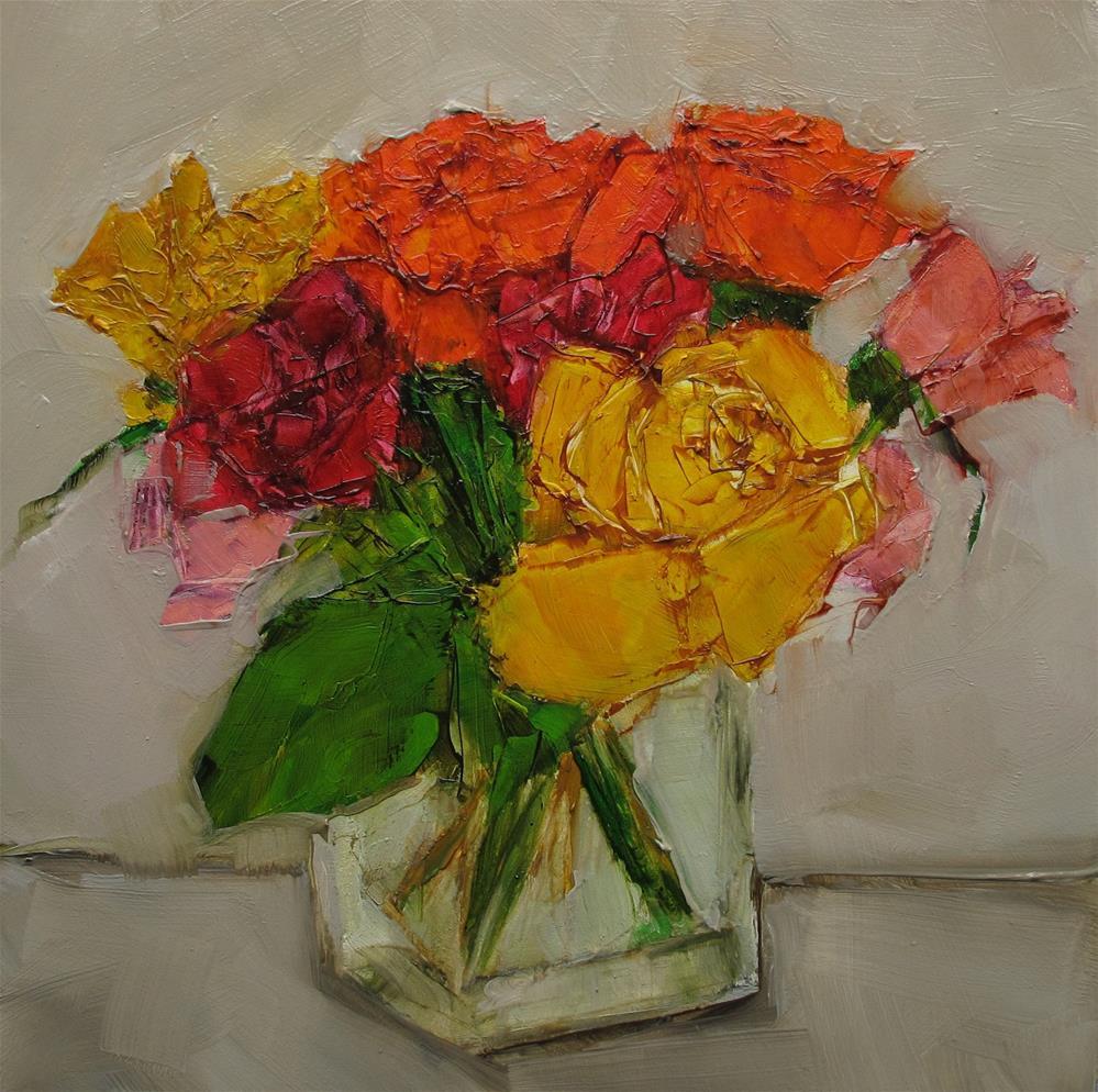 """""""STILL LIFE Floral Flower Roses Color Original Art Colette Davis 6x6 Painting OIL"""" original fine art by Colette Davis"""
