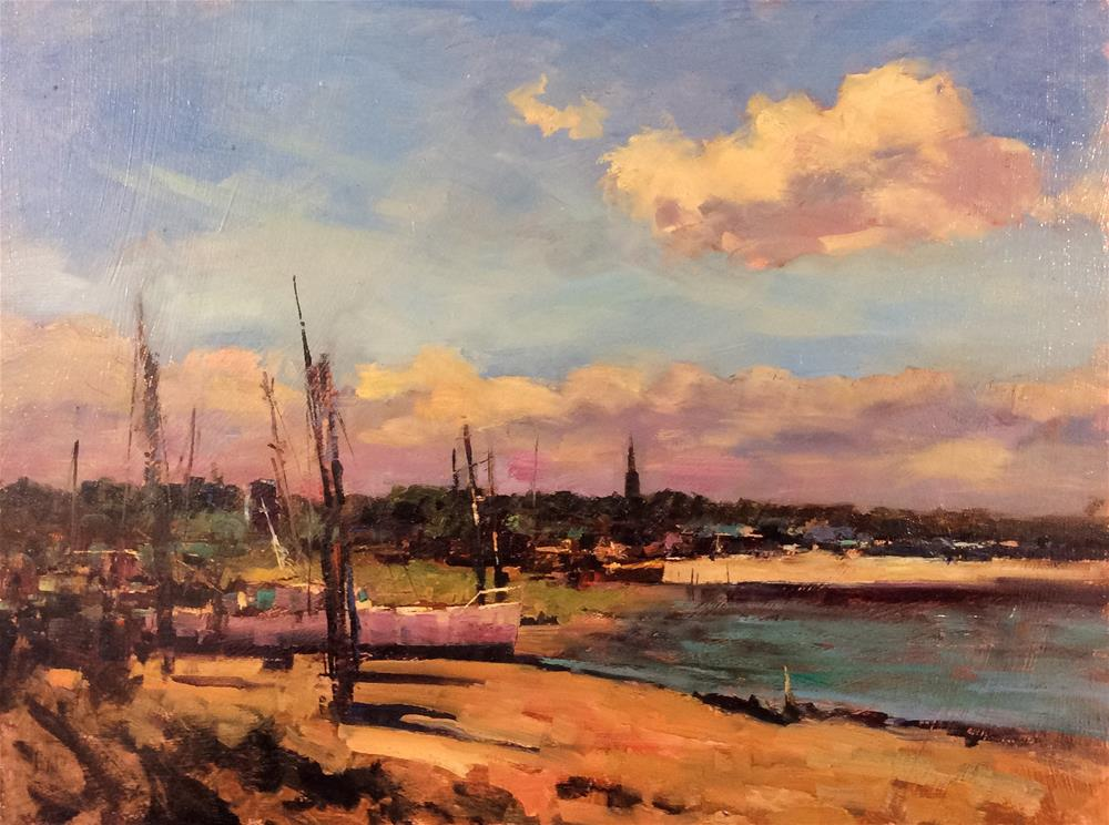 """Afternoon at Erith Sailing Club"" original fine art by John Shave"