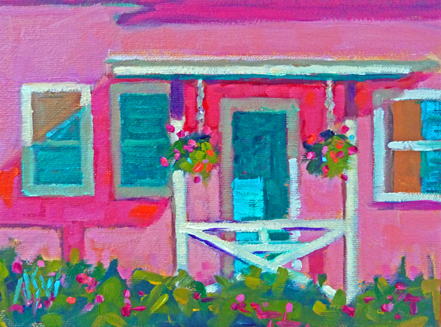 """Retro Beach Cottage"" original fine art by Mary Sheehan Winn"
