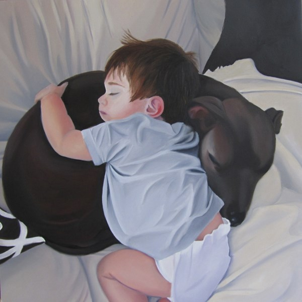 """""""Charlie and His Buddy Blue"""" original fine art by Amy Hillenbrand"""