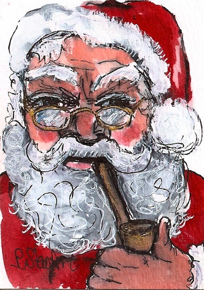 """ACEO Santa with a Pipe #1 WC & Pen, Original Illustration SFA by Penny StewArt"" original fine art by Penny Lee StewArt"