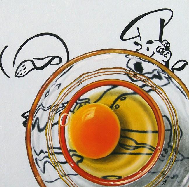 """How to Make an Omelette"" original fine art by Jelaine Faunce"