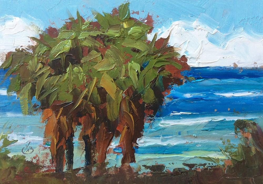 """PALMS OVERLOOKING THE OCEAN"" original fine art by Tom Brown"