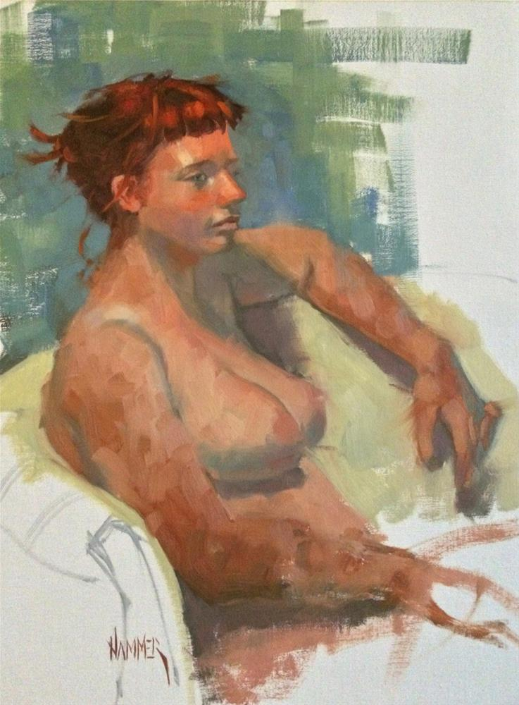 """B's Red Hair  16in x 12in  oil"" original fine art by Claudia Hammer"