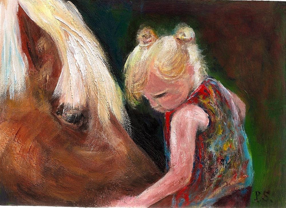 """5x7 Horse and Little Girl Nice Horsey Acrylic SFA Wood Panel Penny Lee StewArt"" original fine art by Penny Lee StewArt"