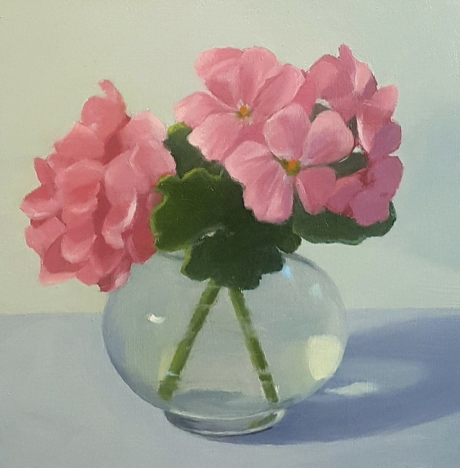 """Geraniums"" original fine art by Karen Johnston"