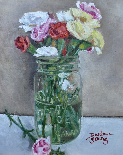 """1106 Carnations in a Mason Jar, 8x10, oil on board"" original fine art by Darlene Young"