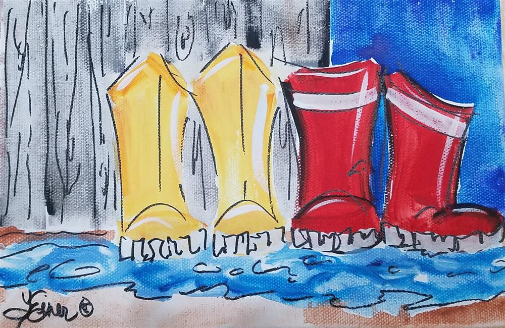 """Chunky Rainboots 684"" original fine art by Terri Einer"