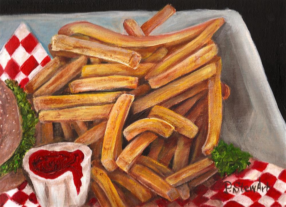 """9x12 Acrylic Crispy Fries Ketchup and Burger Lunch Food Still life Penny StewArt"" original fine art by Penny Lee StewArt"