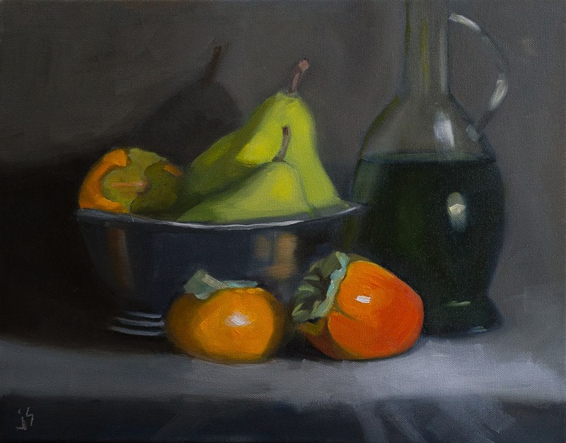 """Persimmons and Pears (11x14)"" original fine art by Johnna Schelling"