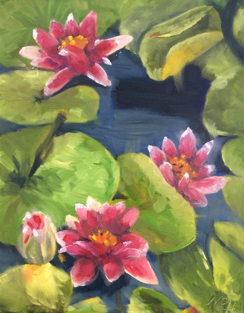 """Water lilies"" original fine art by Molly Rohrscheib Hathaway"