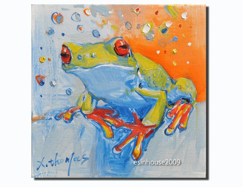 """""""frog Amphibians tree frog original oil painting art The only version"""" original fine art by Thomas Xie"""