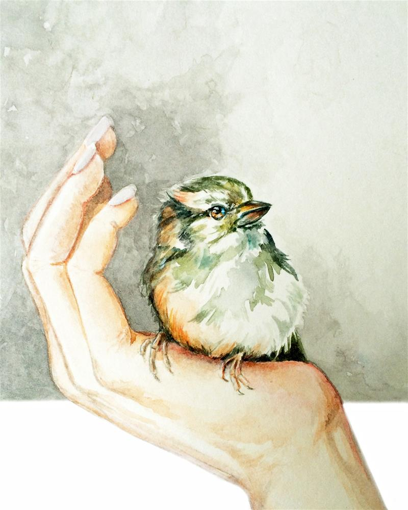 """Bird in the Hand"" original fine art by Christy Obalek"