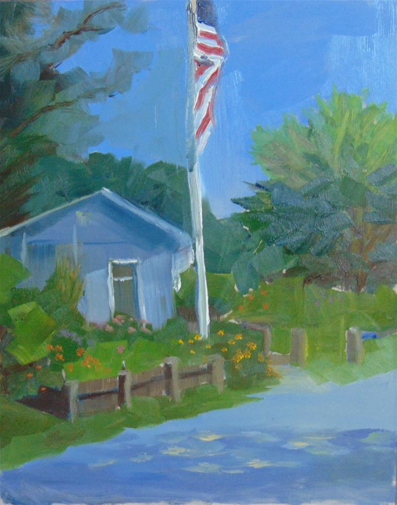 """The Flag at Yankee Point Marina"" original fine art by Catherine Kauffman"