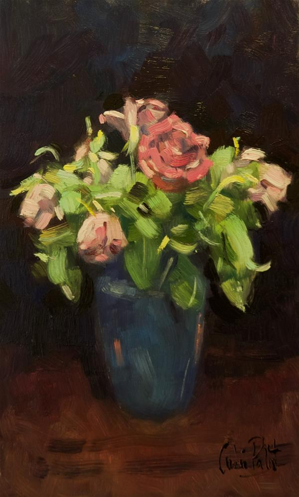 """""""Roses in Blue Vase"""" original fine art by Andre Pallat"""