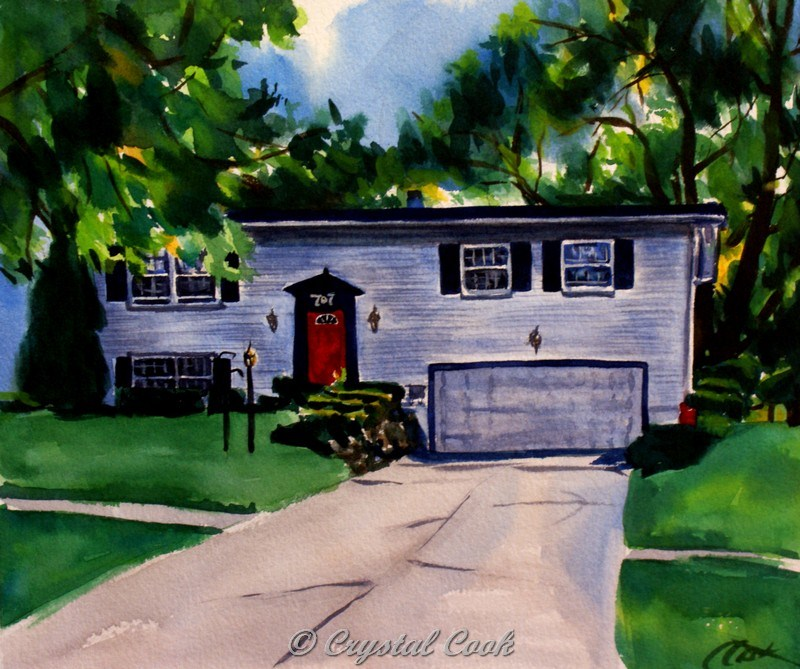 """""""The House With The Red Door"""" original fine art by Crystal Cook"""