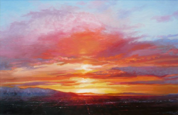 """Salt Lake Sunset"" original fine art by Susan N Jarvis"