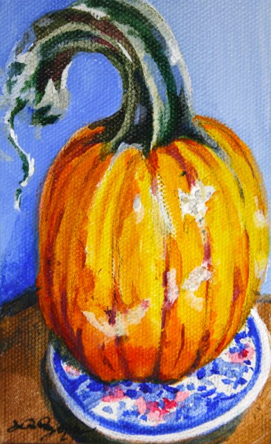"""""""October on the Blue Plate"""" original fine art by JoAnne Perez Robinson"""