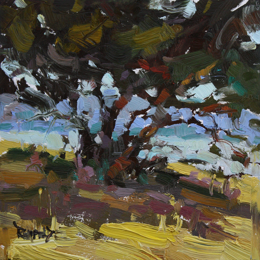 """Stand of Oaks in Yellow Starthistle"" original fine art by Cathleen Rehfeld"