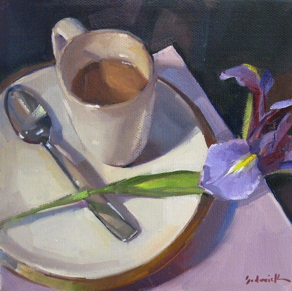 """""""Morning Coffee with Iris still life oil painting floral"""" original fine art by Sarah Sedwick"""