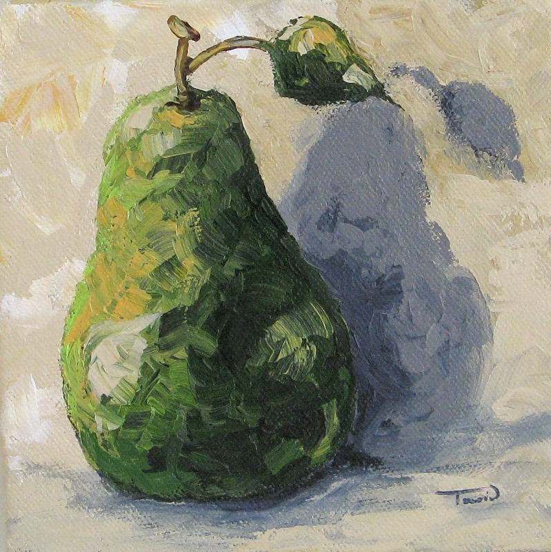 """""""Green Pear and Shadow"""" original fine art by Torrie Smiley"""