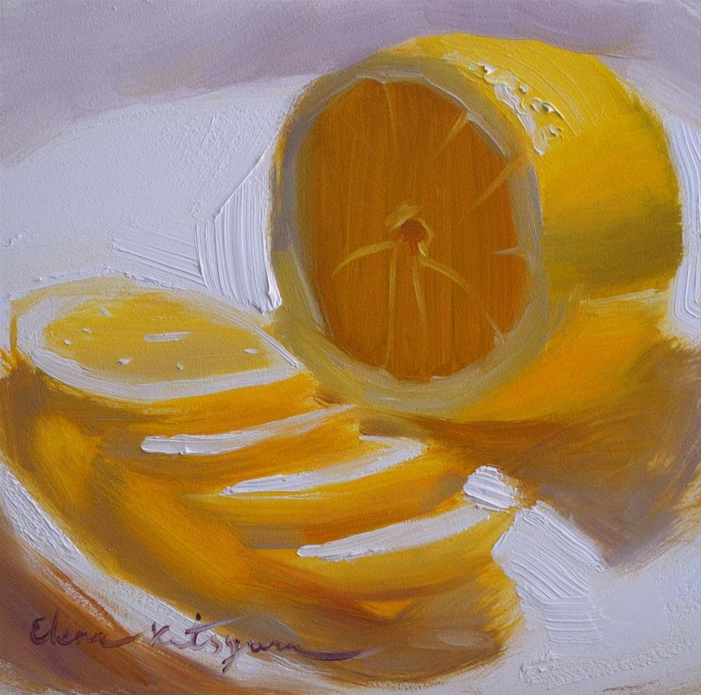 """Sliced Lemon"" original fine art by Elena Katsyura"