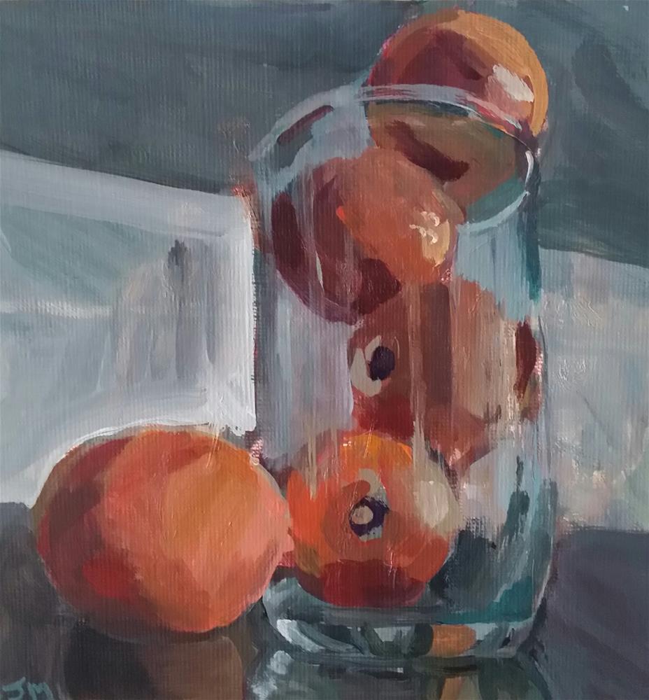 """Tumbling Tangerines"" original fine art by Liz Maynes"