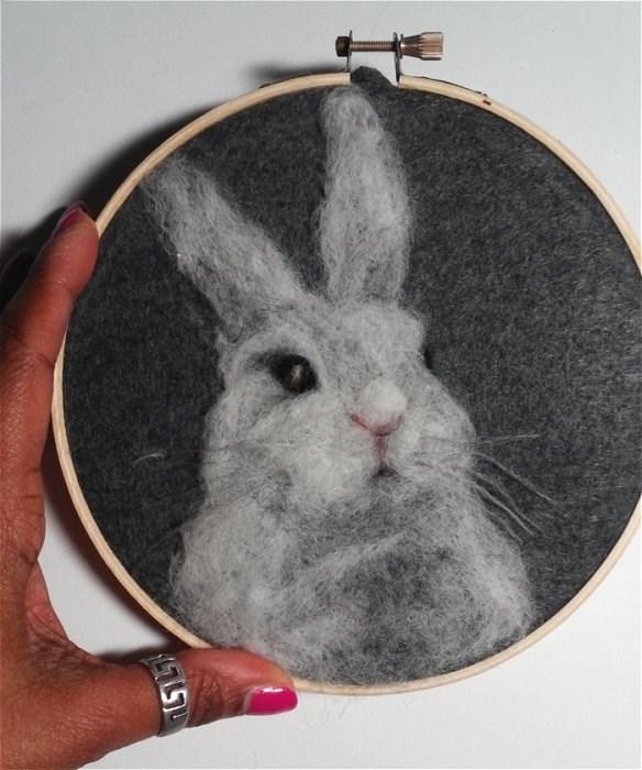 """""""White Bunny"""" original fine art by Camille Morgan"""