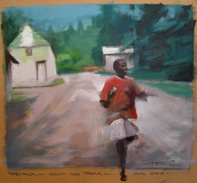 """Runner  oil on brown paper"" original fine art by Robin Weiss"