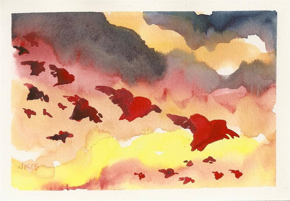 """""""Hearts Flying Home to Roost"""" original fine art by Jean Krueger"""