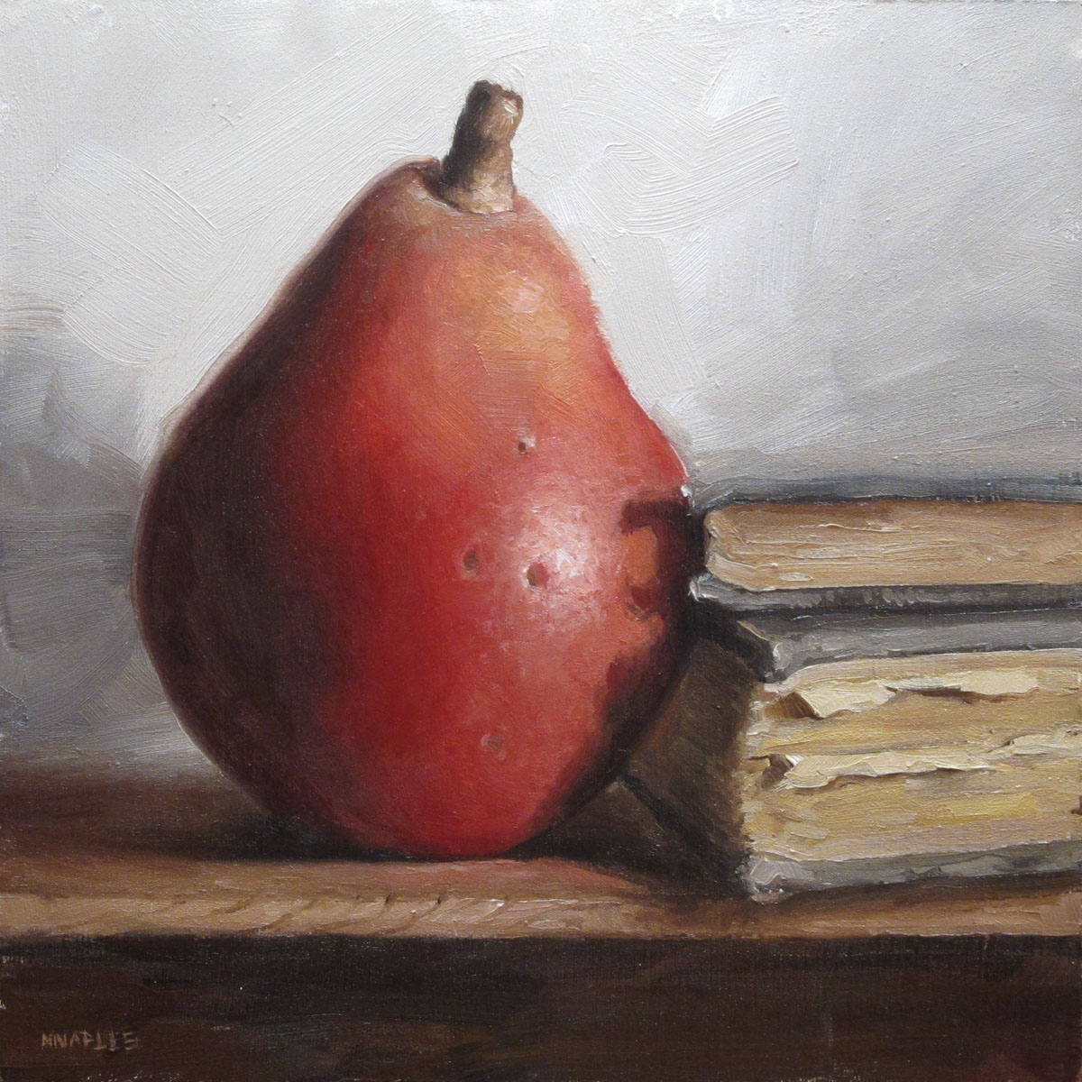 """""""Red Pear with Books"""" original fine art by Michael Naples"""