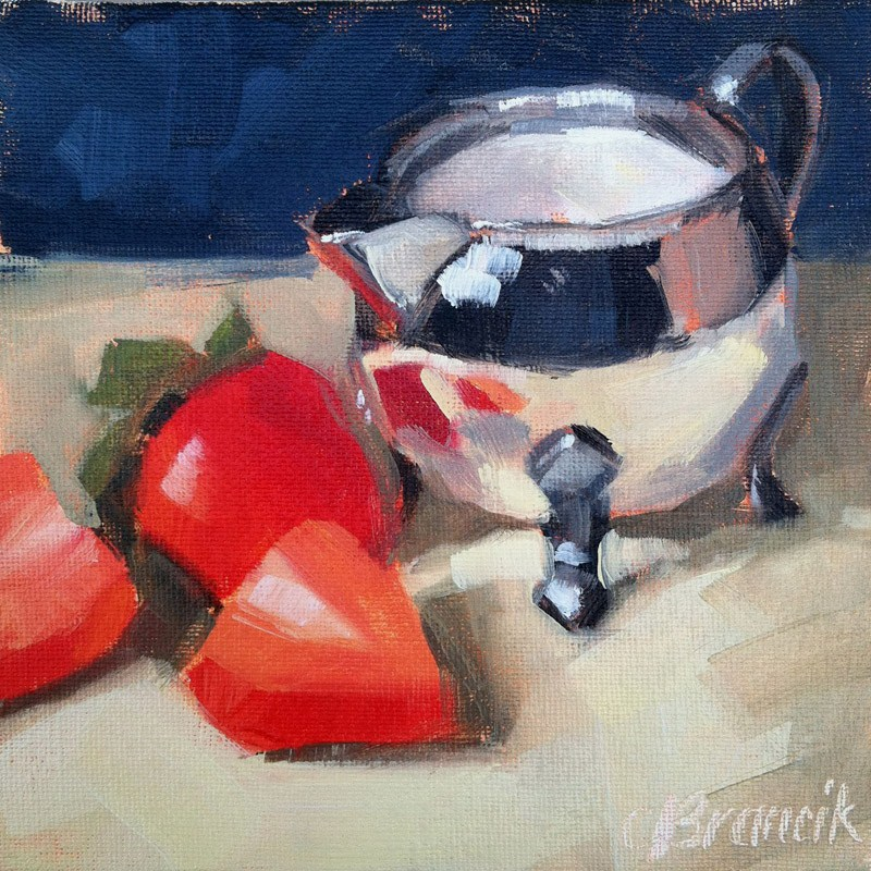 """At The Breakfast Table"" original fine art by Candace Brancik"